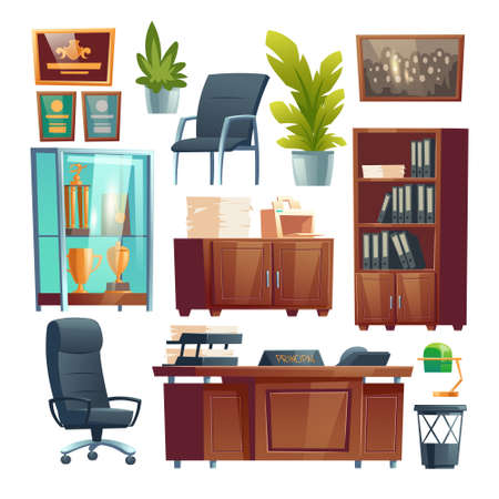 Principal school office interior furniture and stuff set. Director table, desk with printer, chairs and bookcase with files folders, trophies in glass stand, potted plants. Cartoon vector illustration Stock Illustratie
