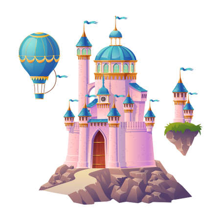 Pink magic castle, princess or fairy palace, air balloon and flying turrets with flags. Fantasy royal fortress, cute medieval architecture isolated on white background. Cartoon vector illustration
