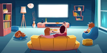 Family sitting on sofa and watch tv in living room at evening. Vector cartoon illustration of lounge room interior with rear view of couple on couch, boy on chair and glowing television screen Stock Illustratie
