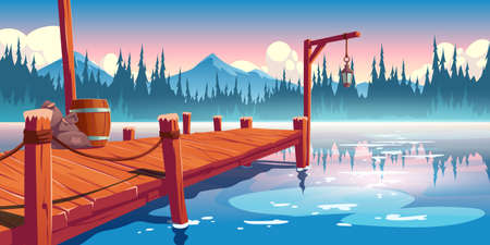 Wooden pier on lake, pond or river landscape, wharf with ropes, lantern, barrel and sacks on picturesque background with clouds, spruces and mountains reflection in water. Cartoon vector illustration Stock Illustratie