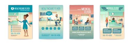 Medical flyers set. Health care service posters with people in hospital, clinic interior with receptionist on reception desk and senior patient visit doctor appointment. Cartoon vector illustration Stock Illustratie