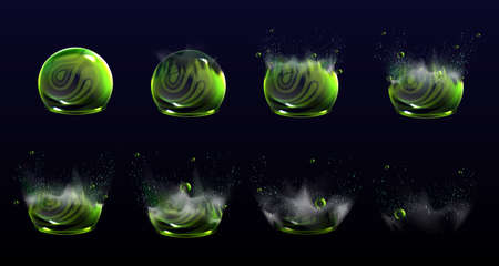 Broken bubble shields explosion animation stages, force spheres or defense dome fields blow up. Elements for motion design, science fiction deflector, firewall protection, Realistic 3d vector set