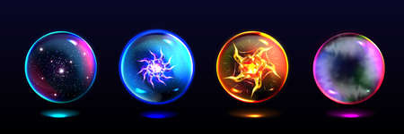 Magic spheres, crystal balls with lightning, energy burst, stars and mystical fog inside. Vector realistic set of glass globes, glowing orbs for magician and fortune teller
