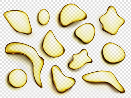 Oil drops, stains of juice or lemonade top view. Yellow liquid droplets of different shapes, honey blobs, syrup spots isolated on transparent background, realistic 3d vector illustration, icons set