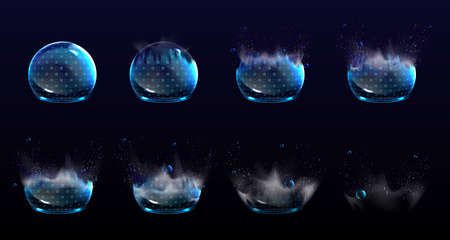 Broken bubble shields, explosion protection force fields. Vector realistic set of stages of safety energy barrier burst. Damaged shine spheres with blue geometric pattern