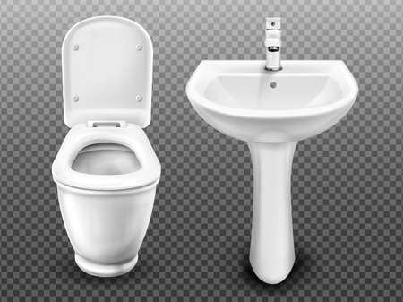 White toilet bowl and sink for bathroom, modern WC or restroom. Vector realistic ceramic wash basin with tap and lavatory with flush tank and open seat lid isolated on transparent background