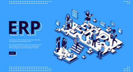 ERP, enterprise resource planning isometric landing page. Productivity and improvement system, data analysis business integration concept, business people work in office 3d vector line art web banner