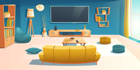 Living room interior with sofa, tv, bookshelf and coffee table. Apartment with couch front of television set on wall, empty home design with bean bag chair and decoration, Cartoon vector illustration Иллюстрация