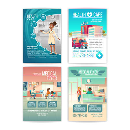 Medical flyers set. Health care service posters with people in hospital, clinic building and interior with receptionist on reception desk, patient on doctor appointment. Cartoon vector illustration Ilustração