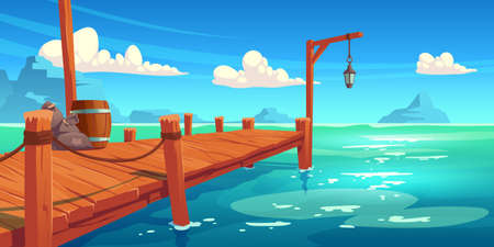 Wooden pier on river, lake or sea landscape, wharf with ropes, lantern, wood barrel and sacks on picturesque background with blue water, clouds in sky and mountains view. Cartoon vector illustration  イラスト・ベクター素材
