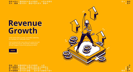 Revenue growth isometric landing page, high expense, financial fund increase concept with successful businessman on pedestal with rising hand, growing arrows and money, 3d vector line art web banner Stock Illustratie