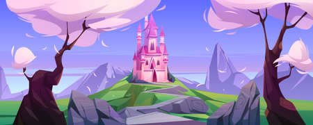 Magic pink castle on green hill. Vector cartoon landscape with mountains, trees and road to cute princess palace with towers. Fairytale illustration with mystery royal castle