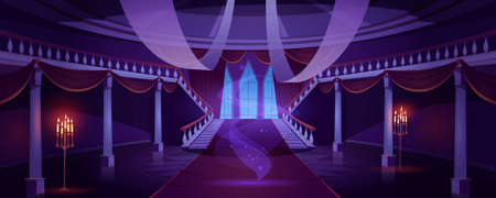 Hall interior with ghost in medieval royal castle at night. Vector cartoon illustration of empty hallway in baroque palace with stairs, balustrade, glowing candles and mystical fog