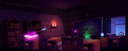 Magic school classroom with open book of spell, chalkboard and bookcases at night. Vector cartoon illustration of empty wizard room with glowing candles, cauldron and magician wand