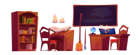 Magic school interior with open book of spell, chalkboard and bookcase. Vector cartoon set of furniture in wizard or witch room, broom, candles and magician wand