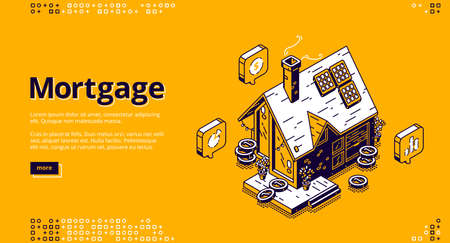 Mortgage isometric landing page. Cottage house with scatter coins and hourglass. Hypothec loan, debt, personal bank consumer credit offer for buying home by installments. 3d vector line art web banner Illusztráció