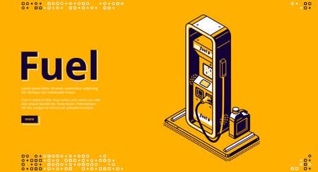 Fuel, petroleum fueling service isometric landing page. Gas, gasoline, diesel or oil car filling company, station with pistol, hose and canister on yellow background, 3d vector line art web banner