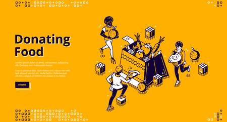 Donating food banner. Charity aid for homeless and hunger. Volunteers donate with nutrition products. Vector landing page with isometric people filling box by grocery and food Vettoriali