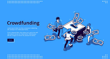 Crowdfunding isometric landing page. People donate money for creative idea support put coins in huge box. Volunteering and social help, philanthropy, donation and charity 3d vector line art web banner Ilustração