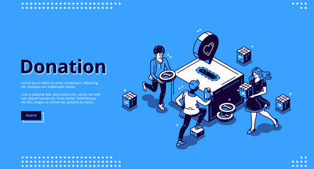 Donation banner. Concept of financial help, charity and aid. Volunteers support and care with money and love. Vector landing page with isometric people donate money and goods to box Ilustração