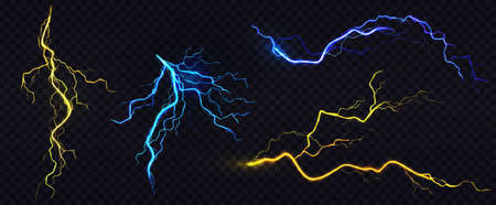 Lightnings, thunderbolt strikes during storm at night. Vector realistic set of blue and yellow electric impact, sparking discharge of thunderstorm isolated on dark transparent background Ilustracja