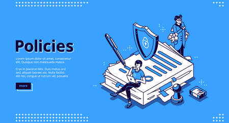 Policies banner. Business documents for law compliance, legal regulation quality and procedures. Vector landing page of guideline, rules and agreement with isometric people and paperwork