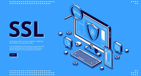 Secure certificate of website banner. Concept of SSL, safety internet technology, data encryption protocol. Vector landing page with isometric illustration of browser with shield on computer screen