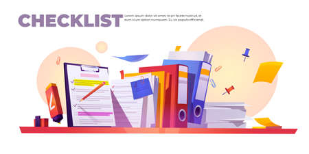 Checklist banner. Concept of paperwork organization and completed tasks. Vector cartoon illustration of questionnaire, survey or planning work with check list on clipboard