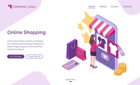Online shopping isometric landing page, customer purchasing in digital store. Woman choose goods at huge smartphone with internet market platform. Buyer use cyber shop mobile app. 3d vector web banner Stock Illustratie