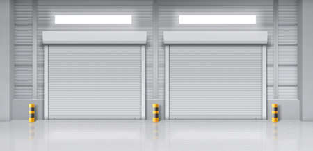 Warehouse interior with closed gates. Vector realistic illustration of empty storage room in store, factory or workshop with rolling shutter on doors. Commercial garage with roller up blinds Vector Illustratie