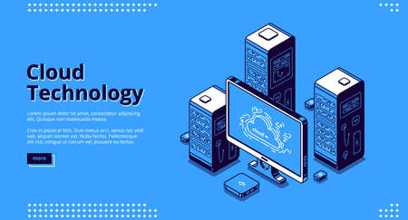 Cloud technology banner. Concept of digital information storage and network system. Vector landing page of internet service for access to server database with isometric icons of computer and hardware