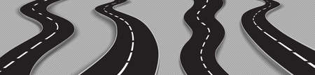 Winding roads, black asphalt highways with white marking. Vector realistic set of curved car ways or streets isolated on transparent background. Concept of journey and travel Ilustracja