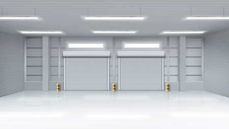 Empty warehouse with rolling doors, storehouse interior with shutter gates, illuminating lamps on ceiling. Delivery service, industrial room rental storage facility, Realistic 3d vector illustration Illustration