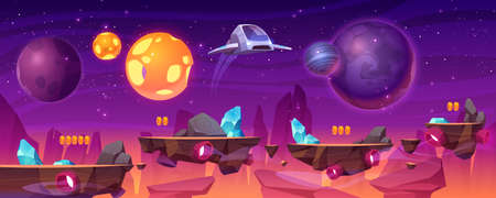 Space game platform, cartoon 2d gui alien planet landscape, computer or mobile background with spaceship, arcade elements for jumping and bonus items. Cosmos, universe futuristic vector illustration Ilustração