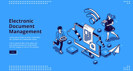 Electronic document management banner. Online paperwork storage, digital system of paper organization. Vector landing page of manage business documents with isometric people and computer screen Vektoros illusztráció