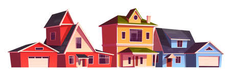 Suburb houses, residential cottages, real estate countryside buildings. Two storey suburban dwelling architecture with garages. Home facade isolated on white background. Cartoon vector illustration