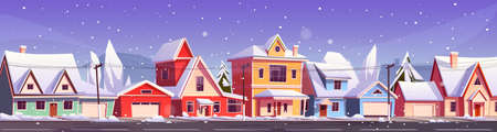 Street in suburb district with residential houses and snowfall. Vector cartoon winter landscape, suburban cottages with snow on roofs. City neighborhood with real estate property