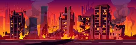 City in fire, war destroy, abandoned burning broken buildings with smoke and flame. Bomb destruction, natural disaster, cataclysm consequences, post-apocalyptic world ruins cartoon vector illustration