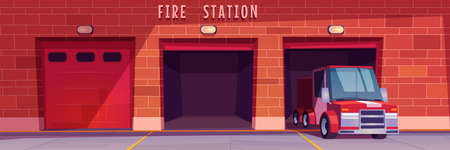 Fire station garage with red truck leaving box. Municipal city service, emergency department hangars front view, car in firehouse with close and open doors and brick wall, Cartoon vector illustration