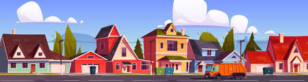 Garbage truck clean waste in city, car trash collector riding on suburb street with litter bins stand on roadside front of house yards. Rubbish collection municipal service Cartoon vector illustration
