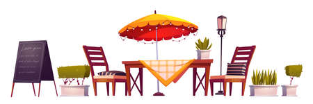 Summer terrace, outdoor city cafe, coffeehouse with wooden table, chairs and umbrella, plants and chalkboard menu isolated on white. Street drinks and snacks cafeteria, Cartoon vector illustration