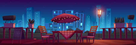 Cafe or restaurant terrace with table, umbrella and chairs at night. Vector cartoon illustration with outdoor cafeteria. Summer cityscape with cafe patio with plants and garland lights in evening