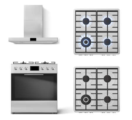 Gas stove with oven and cooker hood in front view isolated on white background. Vector realistic set of metal range hood and top view of kitchen cooktop with lit and off burners