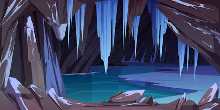 Ice cave in mountain, grotto with frozen lake and hanging icicles inside. Empty cavern, nature landscape background with crystal stalactites and icy rocks. Fantasy antre Cartoon vector illustration 矢量图片
