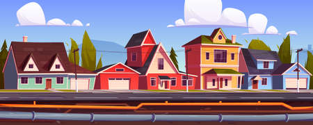 Suburb houses and underground pipeline. Sewer and plumbing system under city street. Vector cartoon illustration of landscape with suburban cottages, pipes with water and drainage Vector Illustration