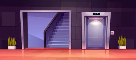 Empty hallway interior with open elevator doors and stairs. Vector cartoon illustration of office lobby, hotel hall, corridor in house with lift, staircase and plants Stock Illustratie