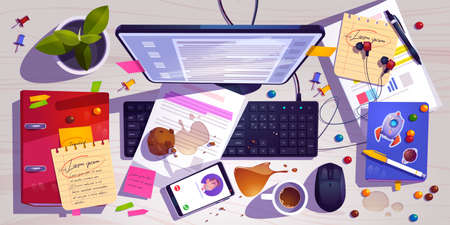 Messy workplace top view, clutter office desk, work space with mess spilled coffee, crumbled muffin and document around laptop. Mobile headset and task list with candies, Cartoon vector illustration