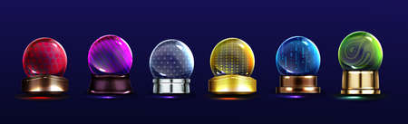 Crystal globes, snow balls on metal stands. Vector realistic set of glass magic spheres with different patterns, glossy transparent domes on golden and silver base. Colored christmas snowglobes