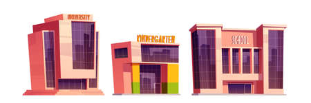 Buildings of school, kindergarten and university isolated on white background. Vector cartoon set of education houses, exterior of college, primary or elementary school, daycare