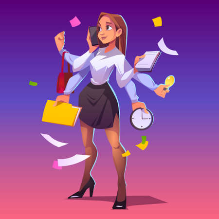 Business woman with many hands. Concept of professional multitask. Vector cartoon character secretary, manager or boss with phone, clock, note pad and bag in arms. Multitasking businesswoman